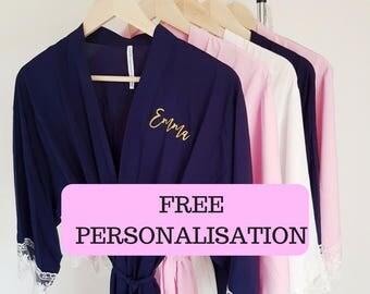 Personalised Robes / Bridesmaid Robes / Plain or Personalised / Lace Robe / Personalised Bridesmaid Robe / Personalised Robe / Bridal robe