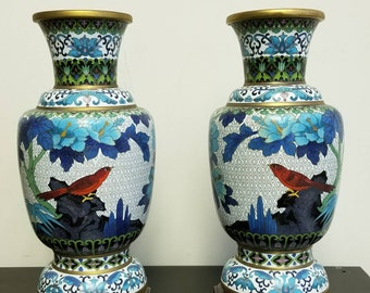 "10 1/8""  Pair of Mirrored Chinese Cloisonne Vases"