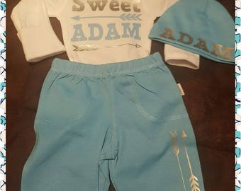 Sweet Baby (Name), Baby Boy, Newborn, Bodysuit, Pants and Cap Set, Perfect For Coming Home or Baby Shower Gift
