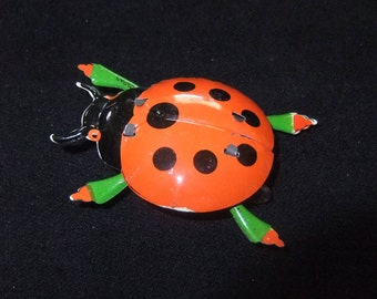 Vintage Tin Litho Lady Bug Rolling Toy, Made in Japan