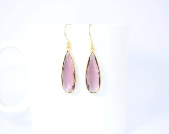 amaethyst earring ,purple color earring ,amethyst long earring ,long pear shape earring,long gemstone drop earring,birthday gift,custom gift