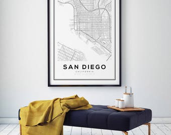 San Diego Map Print, California Map, US Map Print, San Diego California, San Diego Map, Cali Map Print, Black and White Map, Cali City Map
