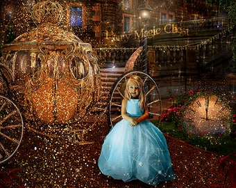 3 Cinderella Digital Backgrounds and 2 Overlays, Backdrop with Golden Carriage and Clock, Overlays with sparkles, glitter, blue fog vignette