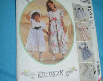 McCalls 6394 Kitty Benton Childrens and Girls Dress Pantaloons and Hatband Sewing Pattern - UNCUT   Size  5