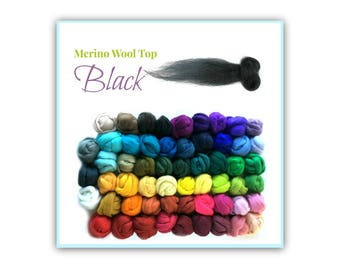 Merino Wool Roving, 1 oz Black Spinning Wool, Felting Top Wool, Jet Black Wool For Felting, Spinning Materials, Felting Roving for Beginners