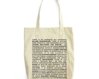 On Ignorance Quotes art tote bag