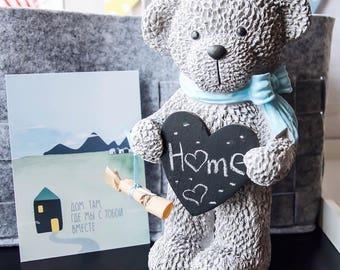 Bear Moneybox / Мишка копилка с грифельным сердцем