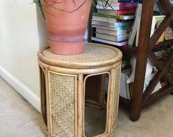 Vintage bamboo plant stand/footstool