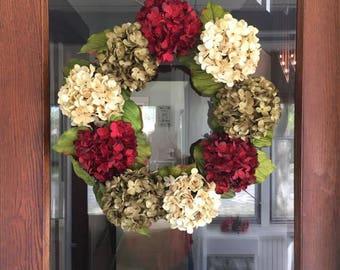 Hydrangea Wreath, Front Door Wreath, Front Door Decor, Front Porch Decor, Fall Wreath, Winter Wreath, Flower Wreath, Custom Wreath
