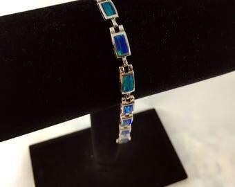 Sterling Silver Vintage Egyptian Opal Bracelet (Rectangle)