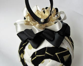 Black, White & Gold Quilted Ornament