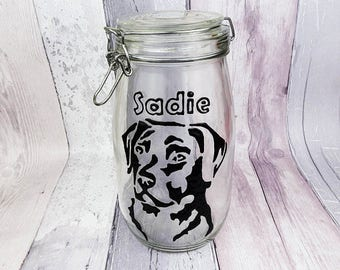 Personalised hand painted Labrador dog treat jar, Add your Dog's name, Dog biscuit jar, Clip top glass jar, Pet snacks, Gift, Choose size