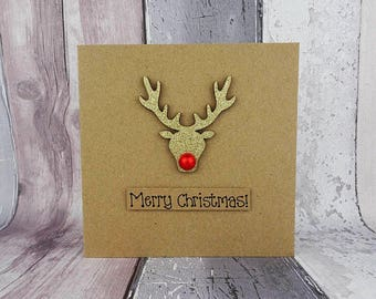 Glitter Rudolph the Reindeer card, Handmade Christmas card, Merry Christmas card, Gold Glittered reindeer, Wooden embellishment, For friend