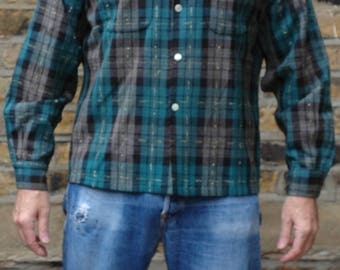 1950s US plaid check shirt with French collar, 40, Rockabilly