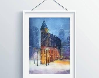 Original watercolor painting, Landscape painting,watercolor landscape,street night,handmade, watercolor street , snow landscape,house gift