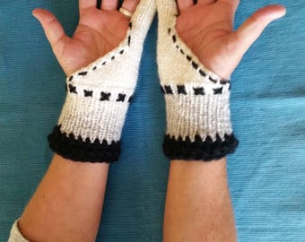 Knitting gloves with Clou, strickarm cuffs, finger gloves, knitted gloves, warmers, gloves with embroidery, white gloves