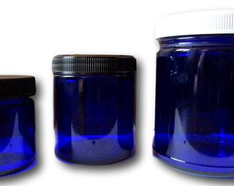 Cobalt Blue Glass Craft, Storage, Container Apothecary Jars 1.7 oz. 4 oz. 9 oz. 1 or 3 Count: Message for Larger/Smaller Quantity Price