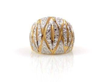 Diamond Cut Dome Ring in Two Tone 10K Gold - X4394