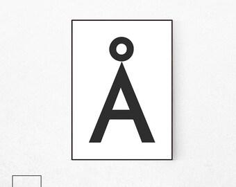 Danish A Print, Letter Print, Scandinavian Print, Letter A, Alphabet Print, Letter A Poster, Typography Print, Letter A Printable, Minimalis
