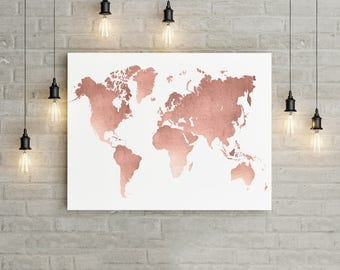 World Map Wall Art, Rose Gold Print, World Map Poster, Rose Gold Wall Art, Travel Wall Decor, Girl Nursery World Map Print, Travel Map Print
