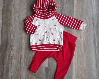 Gender neutral baby outfit/3-6month baby clothes/red and white clothing set/baby hooded shirt and harem pants/gender neutral baby clothes
