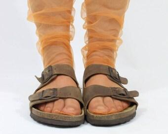 ORANGE - Sheer Seam Tulle Socks, Orange Sheer Stockings, Minimalist Accessory, Orange Lingerie, Orange Socks, Birthday Socks, Gift for Her