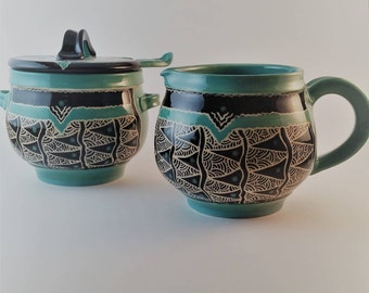 Sugar Bowl  and Creamer with matching ceramic spoon, jade, green-blue, ornately carved,  wedding, anniversary gift