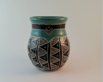 Jade ceramic cup  with detailed carving, green-blue, wine cup, gift under 25