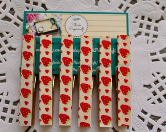 6 wooden clothes peg magnet set, red strawberry garden fruit theme with strawberries, house-warming, gardener gift set