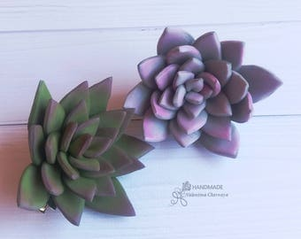 Gray Succulent Green Succulent Succulent hair jewelry Bridal succulent Succulent Hair clip Succulent accessory Birthday Gifts Hair barrette