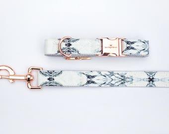 Dog Collar and Leash Set || Marble Dog Collar || Marble Dog Leash || Rose Gold Hardware || Dog Fashion || Adjustable Dog Collar ||