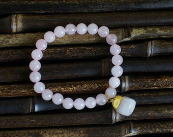 Rose Quartz Bracelet, Gift for Her, Rose quartz Gemstone Jewelry  Healing Love Gemstone