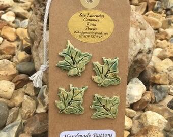 Four Ceramic Leaf-shaped Buttons (BT78)