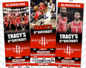 Houston Rockets Invitation, Houston Rockets Basketball Invitation, Rockets Team Invitation, Printable All Access VIP Pass Ticket Invites
