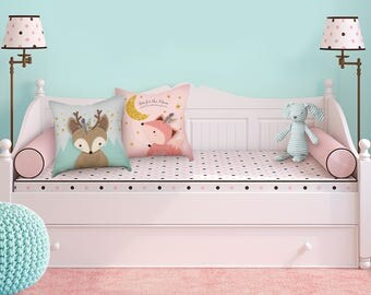 Woodland throw pillow set, Woodland nursery, Girl nursery, Pillow set of 2, Babies gift, Girl nursery pillow, Cushion cover, Baby girl gift