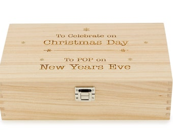 Personalised Two Bottle Wood Wine Gift Box Custom Engraved Made to Order Corporate Promotional or Individual Open Christmas/New Years Eve