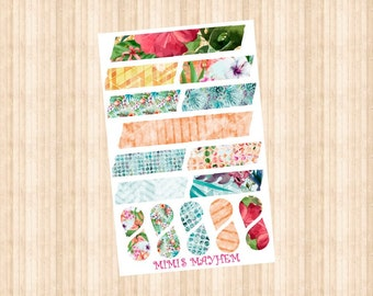 Tropical Washi Strips & Drops // Happy Planner // Erin Condren //Personal