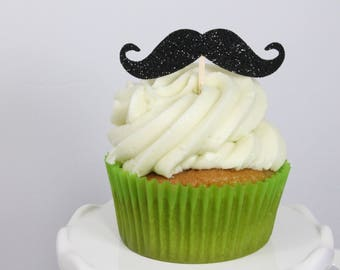 Mustache Cupcake Toppers – Little Man Birthday Party – Mustache Birthday Decorations – Little Man Party Decorations
