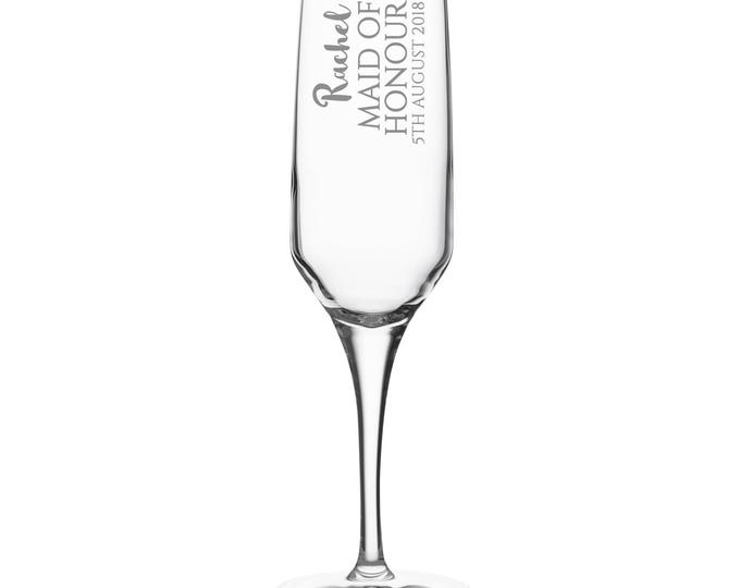 Engraved MAID of HONOUR champagne prosecco flute glass gift, personalised wedding crystal wine flute - DHC-BP4