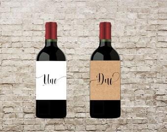 Customizable, Italian Wine Table Number, Wedding Wine Table Number, Pack of four (4) Labels, Wine Bottle Label