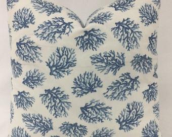Pillow Cover - Coastal Pillow- Nautical Pillow- Seashore Pillow - Blue White Pillow - Coral Design Pillow - Lined - Zippered