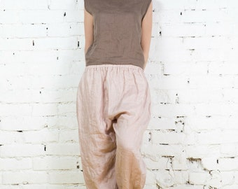 Natural loose linen pants / Washed women linen trousers / Slightly tapered linen pants /LP0007