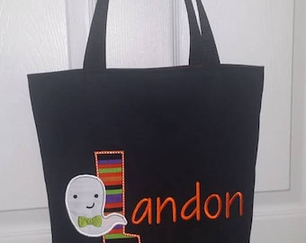 Personalized Halloween Bag, Ghost Halloween Basket, Halloween Basket, Halloween Tote