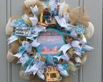 Beach Wreath, beach wall decor, summer decor, beach wall art, Beach Burlap Deco Mesh Wreath, Beach burlap Wreath, Beach mesh wreath, Beach