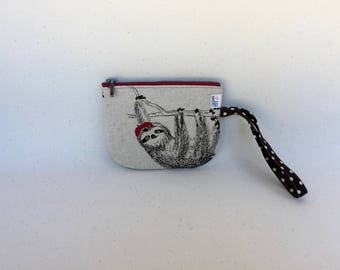 Sloths! Wallet, Wristlet, Coin Purse, Small Zipper Pouch, Earbuds Case, Small Makeup Bag, Japanese Linen Fabric, Cute Sloth Zippered Bag