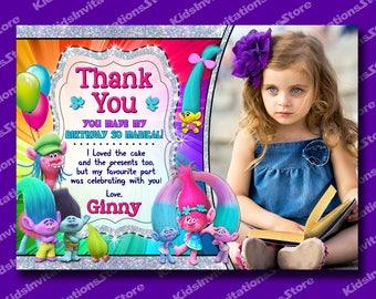 Trolls Invitation-Trolls Thank You Card-Glitter Trolls Thank You Card-Trolls Party Supplies-Poppy-Cooper-Branch-Chenille-Silver Glitter