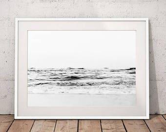 Ocean Wall Art Beach Prints, Black and White Ocean Art Seascape Print Coastal Prints, Beach Art Download Coastal Decor Large Wall Art Prints