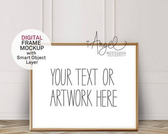 8x10'' Gold Horizontal Frame Mockup, Vintage White wall and parquet floor, Poster Mockup, Hipster minimalism, Styled Photo, High Res #222d