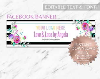 Instant Customizable Floral Striped Fashion Consultant and LLR Facebook Banner Template