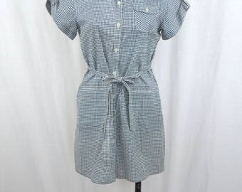 1960's Checkered Short Sleeve Vintage Button Up Mini Dress